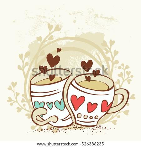 two cartoon cups fall in love