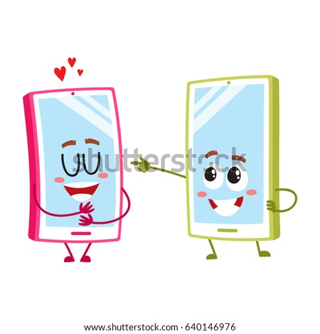 two cartoon mobile phone