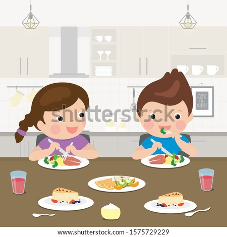 Two cartoon preschoolers have a lunch. Healthy food - vegetables, fish and fruits in the diet of a child. Kitchen room interior and caucasian schoolboy and schoolgirl characters eat. Vector