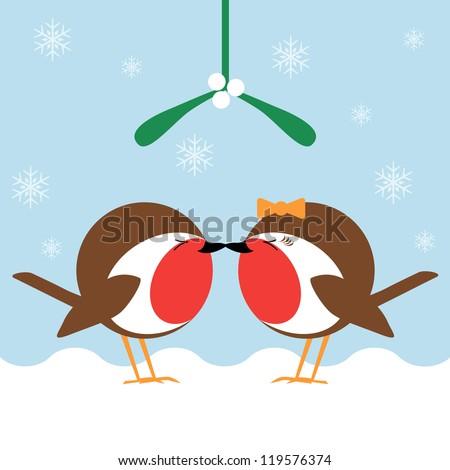 two cartoon robin redbreasts kissing under the mistletoe