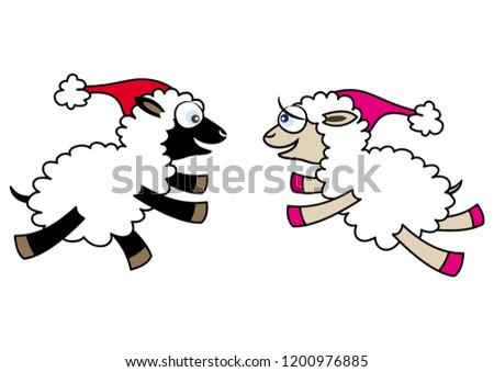 two cartoon sheep running
