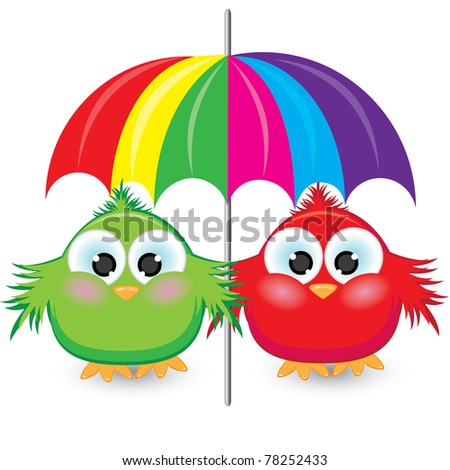 Two cartoon sparrow under the umbrella. Illustration on white background
