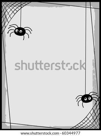 two cartoon spiders on a web