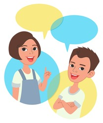 Two cartoon style kids half-length portrait, comics speak bubbles with empty space for text. Caucasian girl and boy talking, asking and answering questions, advising, helping.