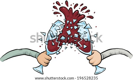 two cartoon wine glasses smash