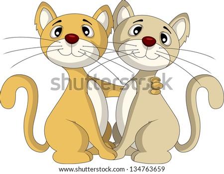 two cat cartoon friendship