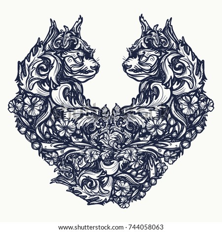 two cats in the form of heart