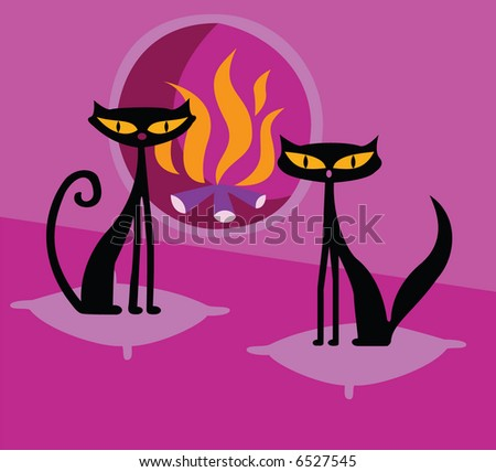 two cats near the fireplace