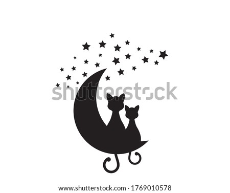 two cats silhouettes sitting on