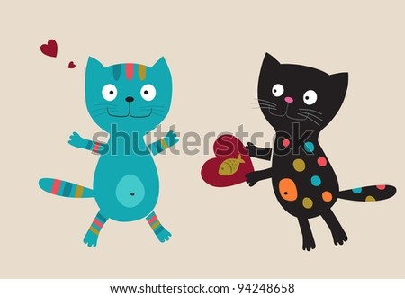 Two cats with heart. Vector illustration