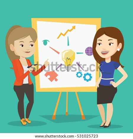 Two caucasian business women discussing a project. Group of young women working on project. Business woman drawing business project on a board. Vector flat design illustration. Square layout.