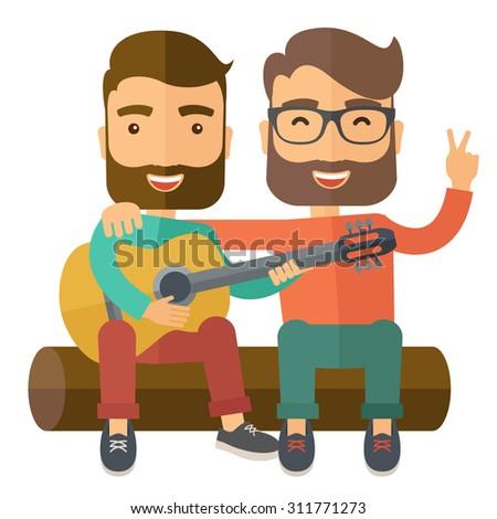 two caucasian happy sitting on