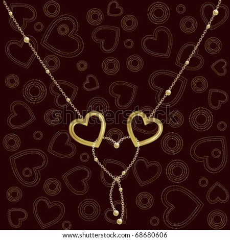 Two chained golden hearts