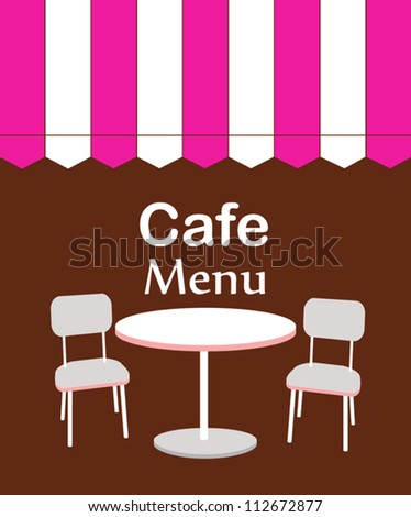 two chairs and table in restaurant. vector illustration