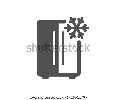 Two-chamber refrigerator icon. Fridge with snowflake sign. Freezer storage symbol. Classic flat style. Quality design element. Simple refrigerator icon. Vector