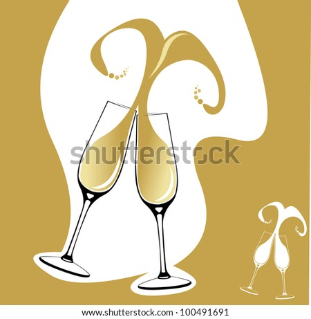 Two champagne glasses or flutes making a toast with splash in the shape of heart. Easy editable layered vector illustration