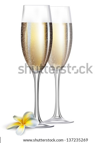 two champaign glasses and