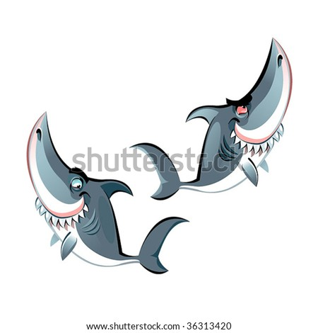 Two characters- fun sharks with big teeth ang smileys, vector. - stock vector
