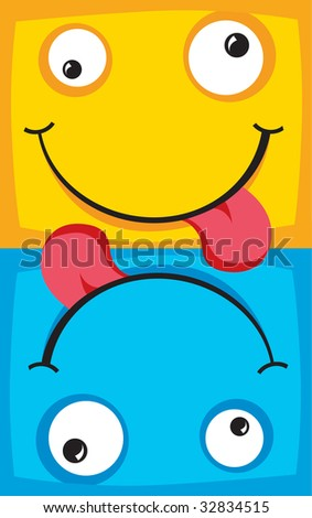 Two cheerful characters with smiles an illustration