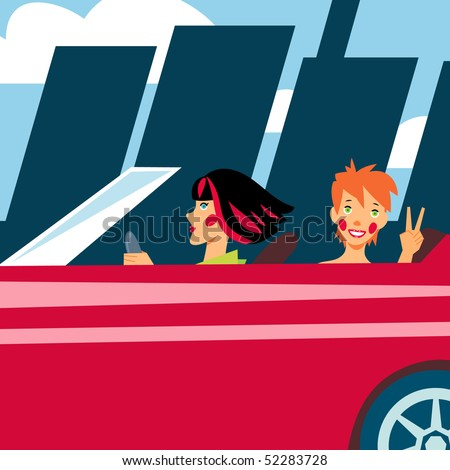 Two cheerful girls in red car going out of town