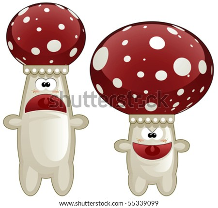Two cheerful mushrooms cartoon illustration