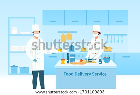 Two chefs preparing food for a Delivery Service in a restaurant kitchen during the coronavirus pandemic, colored vector illustration