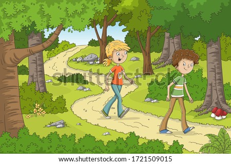two children are walking