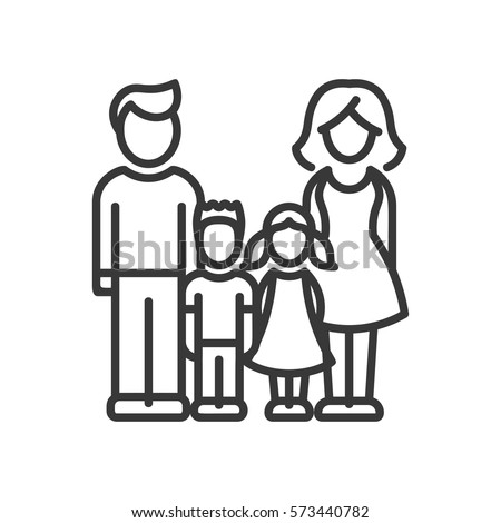 Two Children Family - vector modern line design illustrative icon. Man, woman, girl, boy models standing together.