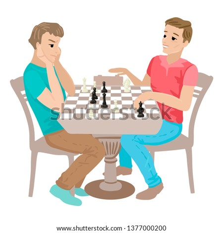 Two children play chess at school. Table with shamata board. Chess Olympiad. The guy loses a friend, mates. Cartoon characters kids on a white background. Stockfoto ©