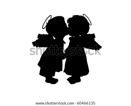two children's silhouettes with
