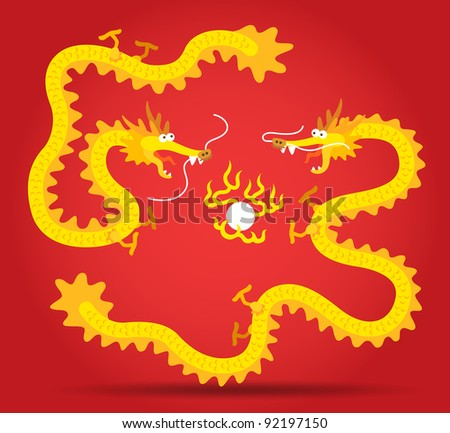 two chinese dragon flying