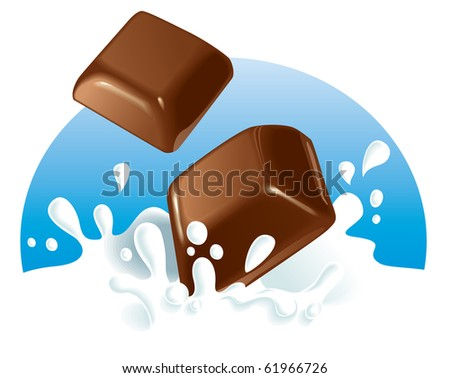 two chocolate pieces falling in