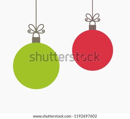 Two Christmas balls hanging ornaments. Vector illustration