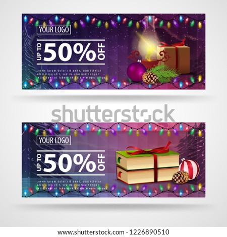 two christmas banners with