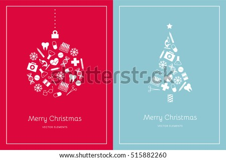 two christmas cards on a red