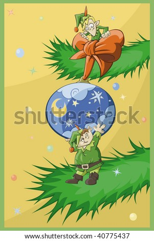Two Christmas elfs decorate Christmas-tree