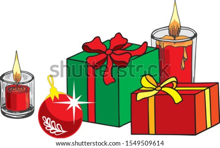 two christmas gifts in a red