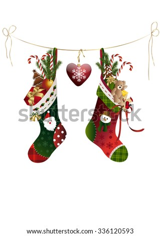 two christmas stockings with