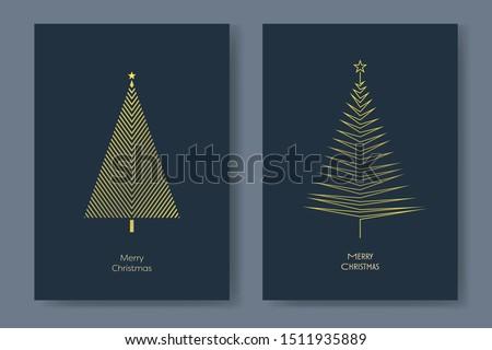 two christmas tree card vector