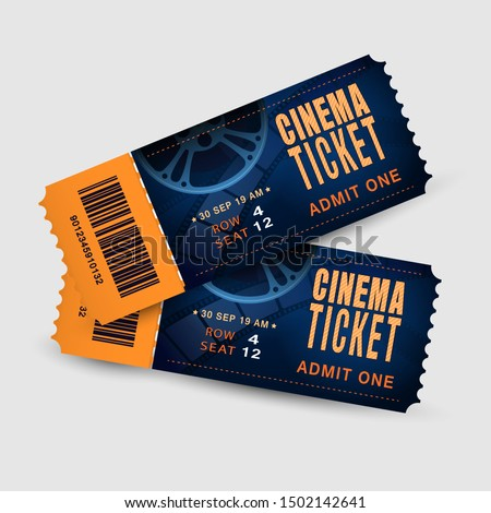 Two cinema tickets isolated on white background. Pair movie entrance ticket. Realistic template set for Cinema, Theatre, Concert, Party, Event or Festival. Vector illustration close up top view.EPS 10