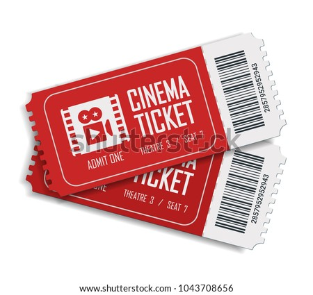 Two cinema vector tickets isolated on white background. Realistic front view illustration. Close up top view on two designed movie tickets.