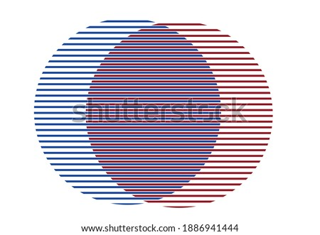 Two circles symbolizing merging or splitting for economy or business concepts. Editable Clip Art. ストックフォト ©