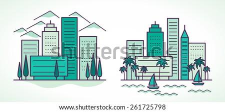 two city landscapes line vector