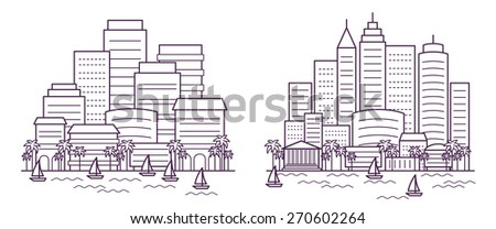 two city landscapes line vector