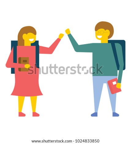 Two class fellows giving high five to each other, flat vector icon