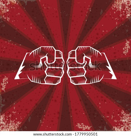 Two clenched fists bumping. Conflict, protest, brotherhood or clash concept vector illustration