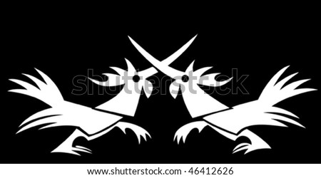 Two cocks fighting in a vector logo style