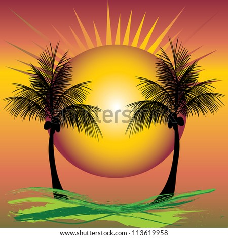 two coconut palms with a glowing moon in the middle and rays
