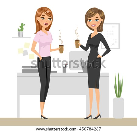 two colleagues drinking coffee