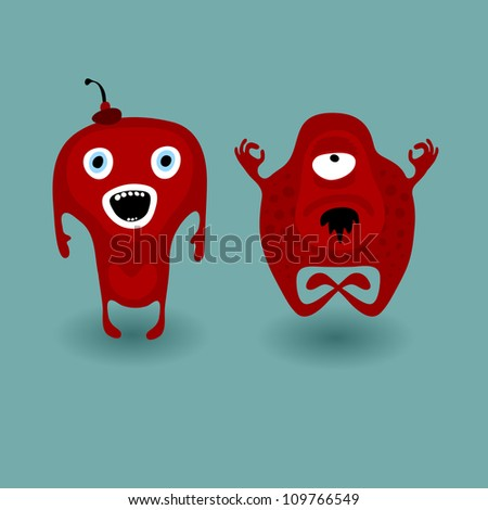 Two colored monsters cartoon characters, surprised and meditative, vector illustration